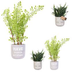 Grossiste plante artificielle dans un pot en ciment avec message
