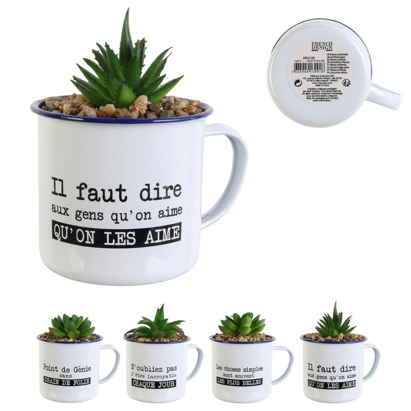 Grossiste plante artificielle mug emaille