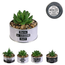 Grossiste plante artificielle pot métal happy working