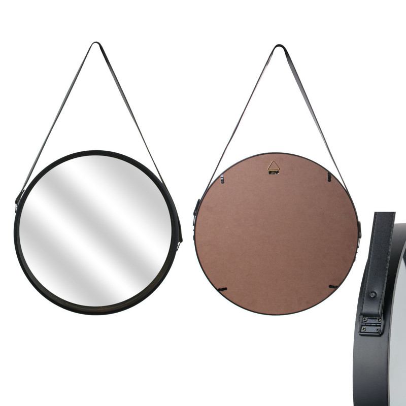 Grossiste miroir rond avec anse pu noir 40cm