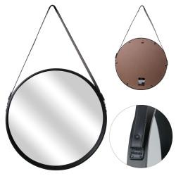Grossiste miroir rond noir avec anse 50cm