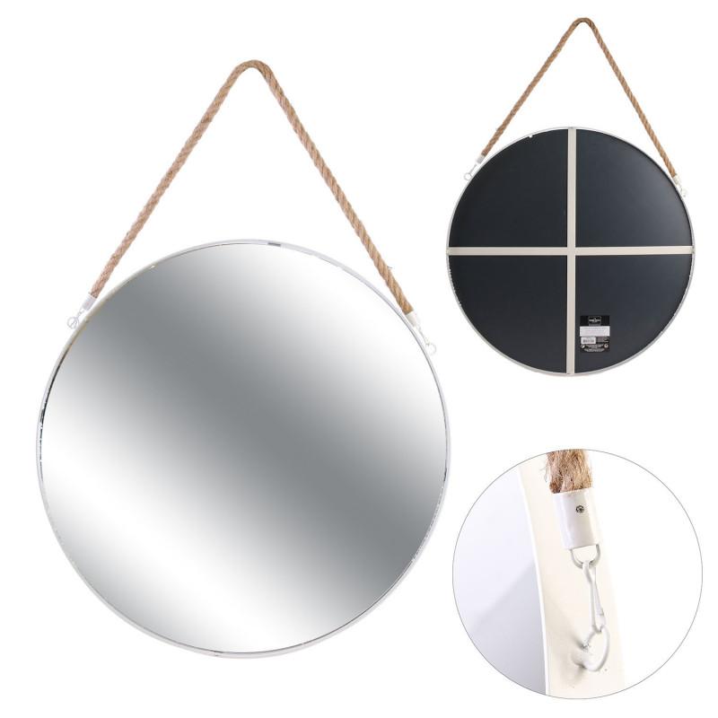 Grossiste miroir rond blanc en jonc avec anse 50cm