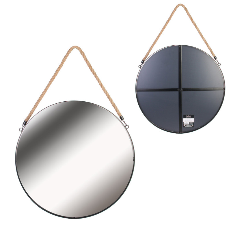 Grossiste miroir rond noir en  jonc avec anse 50cm