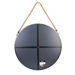 Grossiste miroir rond noir en  jonc avec anse 50cm dos