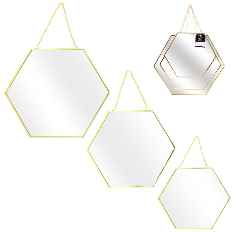 Grossiste miroir hexagonal x3 tailles avec finition en or