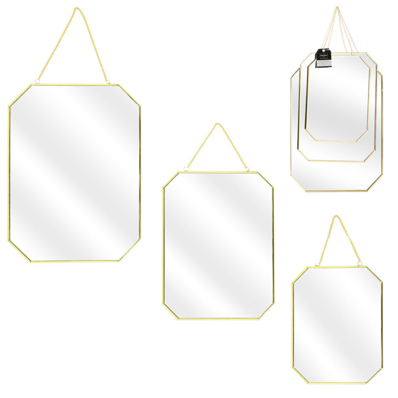 Grossiste miroir angles obliques x3 tailles finition or