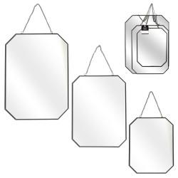 Grossiste miroir angles obliques x3 tailles finition noir