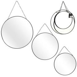 Grossiste miroir rond chainette x3 tailles finition noire