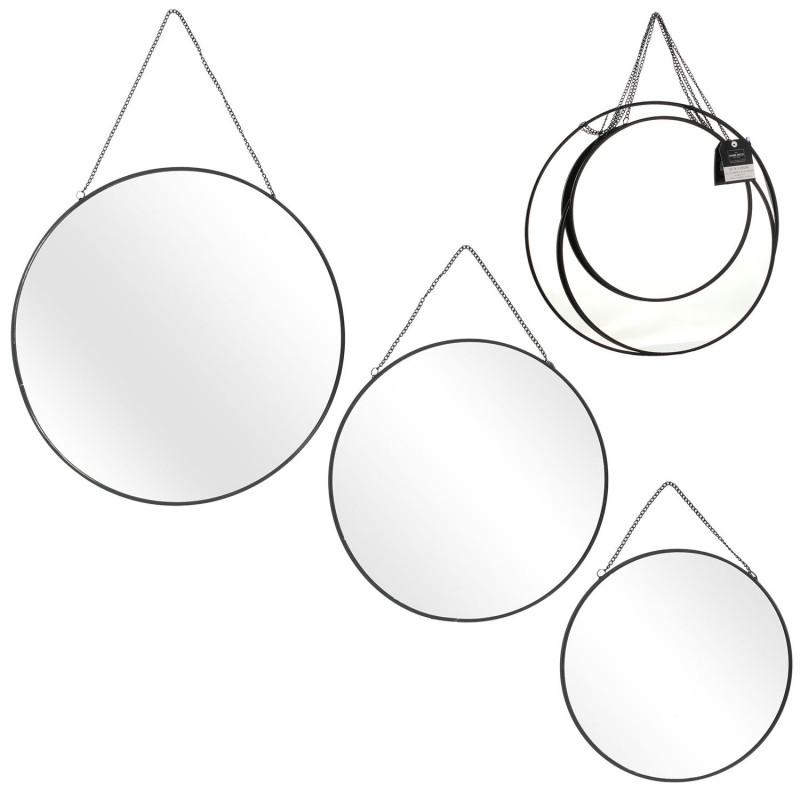 Grossiste miroir rond x3 tailles avec chaînette et finition noire