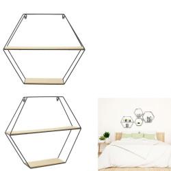 Grossiste étagère bois métal hexagonale 46x10x40cm