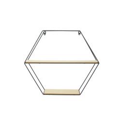 Grossiste étagère en bois et métal de forme hexagonale 46x10x40cm