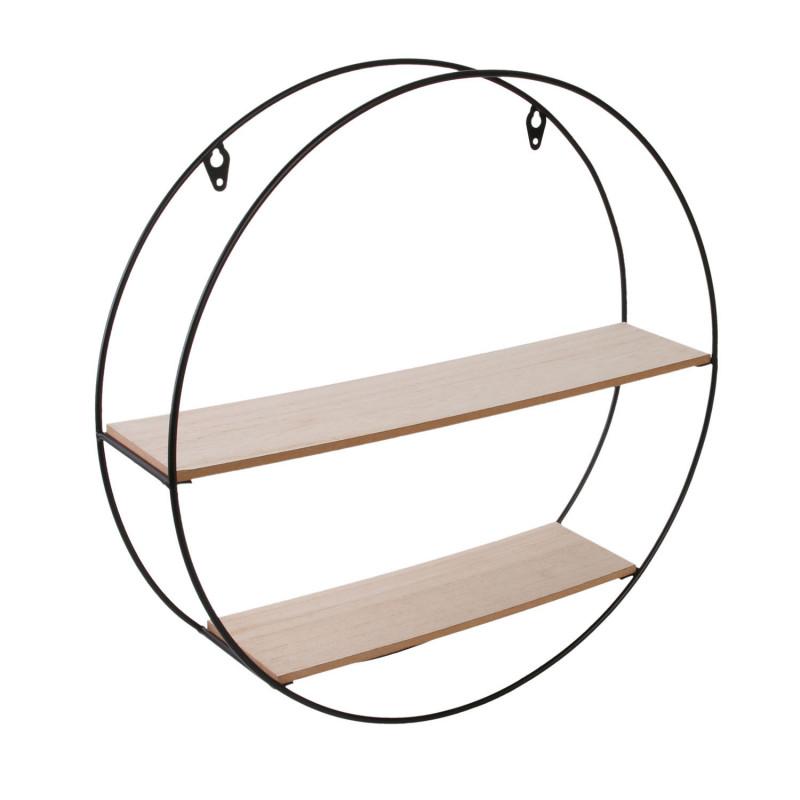 Grossiste étagère bois métal rond 40x10x40cm