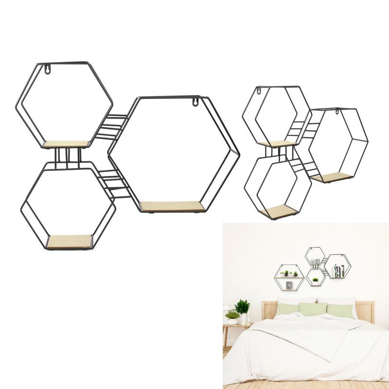 Grossiste étagère 3 en 1 en bois et en métal de forme hexagonal 48x10x55cm