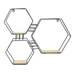 Grossiste étagère 3 en 1 bois et métal hexagonale