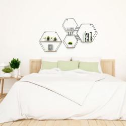 Grossiste étagère 3 en 1 en bois et en métal de forme hexagonale 48x10x55cm
