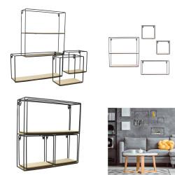Grossiste étagère 4 pièces bois métal 38x38x10cm