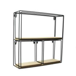 Grossiste étagère 4 pièces en bois et métal 38x38x10cm