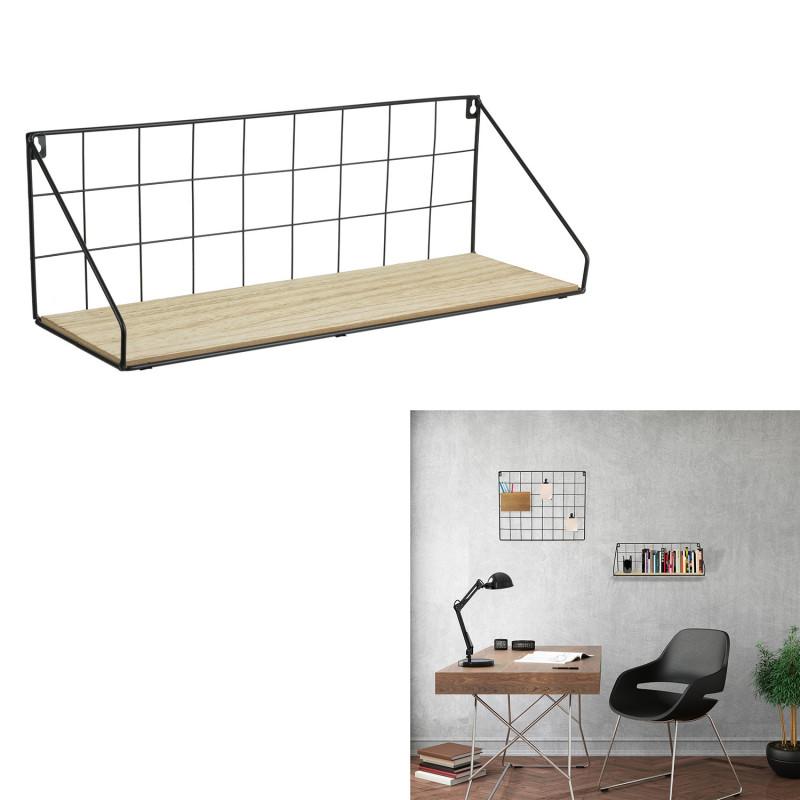 Grossiste étagère bois métal rectangle 15x45x15cm