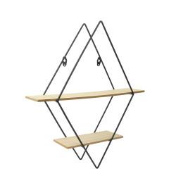 Grossiste étagère en bois et métal de forme losange 40x10x46cm