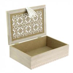 Grossiste boite de rangement en bois avec pompon 24x16x7cm ouverte