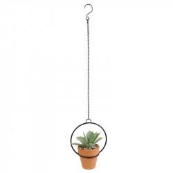 Grossiste plante artificielle dans une suspension en métal 12cm orange