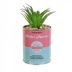 Grossiste plante artificielle cactus dans un pot en métal rouge et bleu