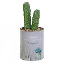 Grossiste plante artificielle cactus dans un pot en métal gris