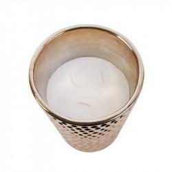 Grossiste bougie vase en céramique martelé en cuivre dessus