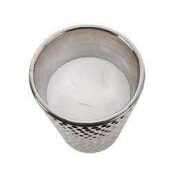 Grossiste bougie vase en céramique martelé en argent dessus