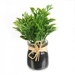 Grossiste plante artificielle dans un pot en verre rafia 12cm