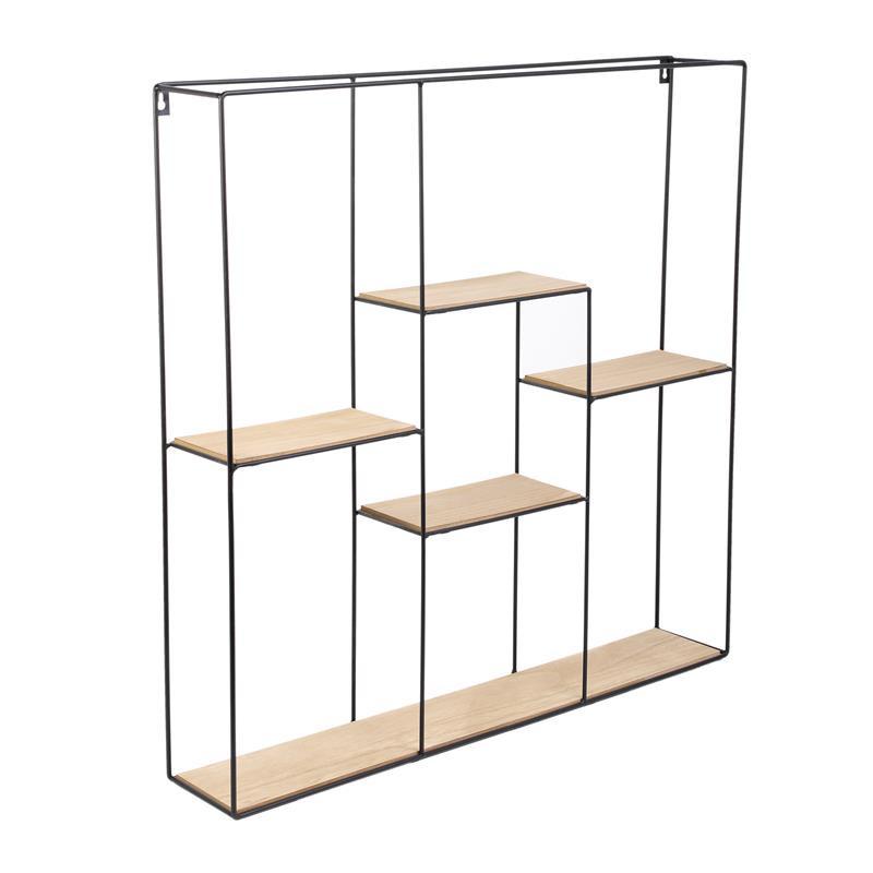 Grossiste étagère carré à 5 plateaux en bois et métal