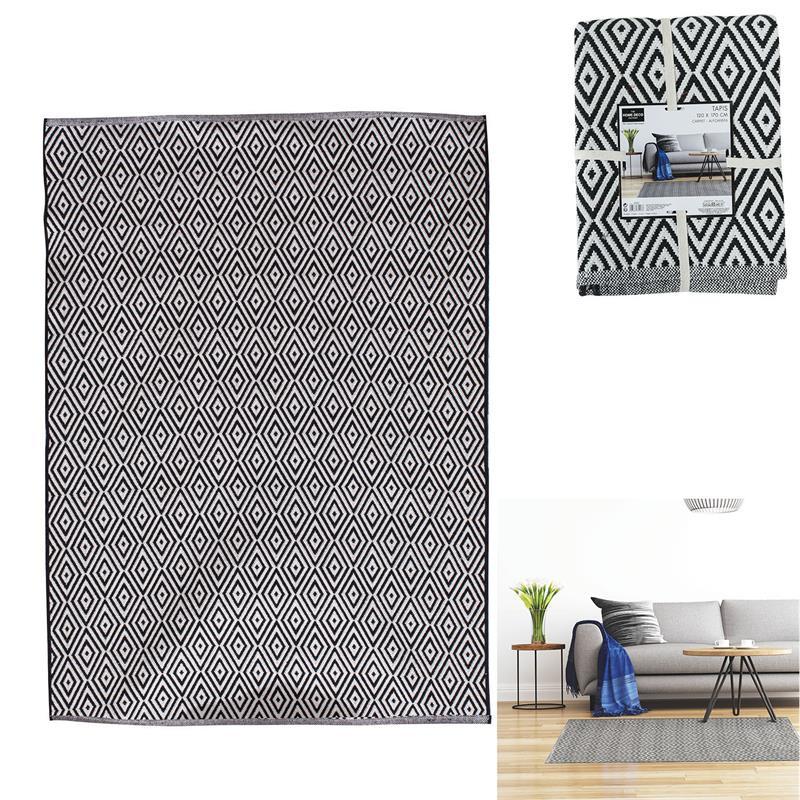 Grossiste tapis aux motifs losanges noirs et blancs 120x170cm