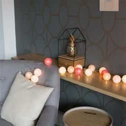 Grossiste guirlande aux boules roses et dorées 20 LED - 3m45