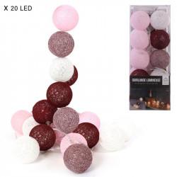 Grossiste guirlande aux boules rouges et rose 20 LED - 3m45