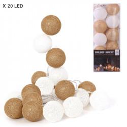 Grossiste guirlande aux boules blanches et dorées 20 LED - 3m45