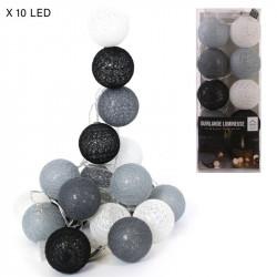 Grossiste guirlande lumineuse grise, blanche et noire 10 LED - 1m75