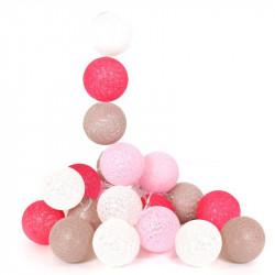 Grossiste guirlande aux boules rose, blanches et fuschia 10 LED - 1m75