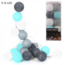Grossiste guirlande boule bleu gris 10 leds d6cm 1m75