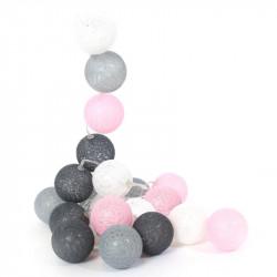 Grossiste guirlande aux boules rose, blanches, gris clair et gris foncé 10 LED - 1m75