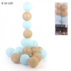 Grossiste guirlande aux boules bleues et dorées 20 LED - 3m45