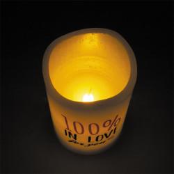 Grossiste bougie LED spécial Saint Valentin 12.5x7.5cm blanche