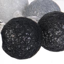 Grossiste guirlande 10 LED aux boules grises, noires et blanches - 4x192cm