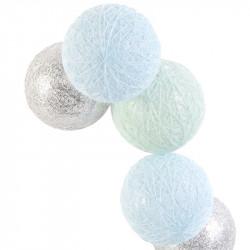Grossiste guirlande aux boules 10 LED bleues, argentées et vertes - 4x192cm