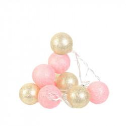 Grossiste guirlande boule10 led rose doré 4X192cm