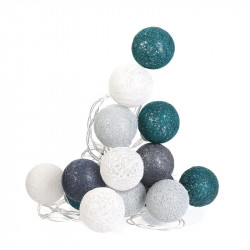 Grossiste guirlande 20 LED aux boules gris clair, gris foncé, blanches et vertes - 4x372cm