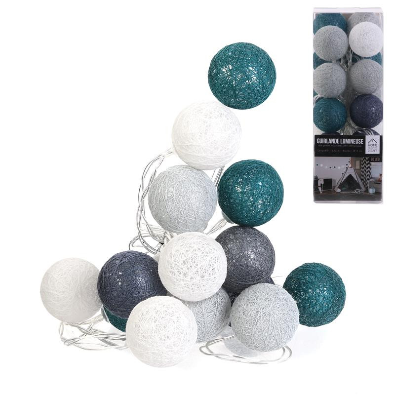 Grossiste guirlande boule 20 led bleu foncé gris 4x372cm