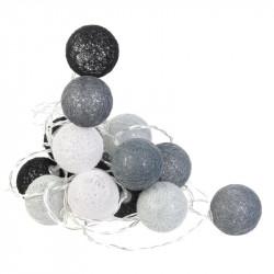 Grossiste guirlande boule 20 led gris noir blanc 4x372cm
