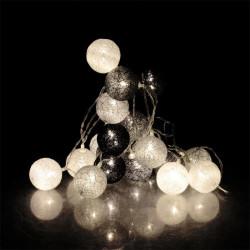 Grossiste guirlande 20 LED aux boules noires, blanches et grises - 4x372cm
