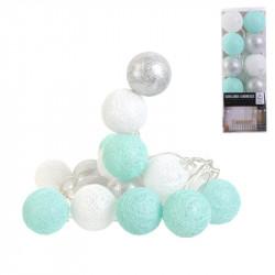 Grossiste guirlande 20 LED aux boules blanches, bleues et argentées - 4x372cm