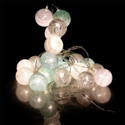 Grossiste guirlande 20 LED aux boules blanches, vertes et argentées - 4x372cm